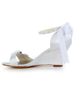 Satin Wedge Sandals Beading Wedding Shoes With Rhinestoness And Bowknot