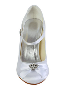 Satin Stiletto Heels Buckle Hollow Out Wedding Shoes With Rhinestones