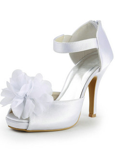 Satin Stiletto Heels Sandals Wedding Shoes With Big Flower