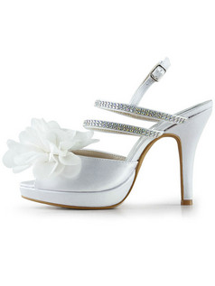 Satin Upper Stiletto Heels Slingbacks Peep Toes Wedding Shoes With Flowers And Coloured Rhinestones