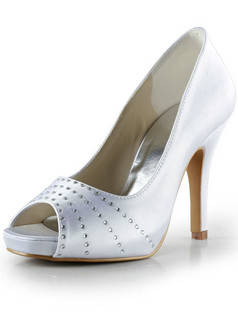 Satin Stiletto Heels Peep Toes Pumps Wedding Shoes With Rhinestones