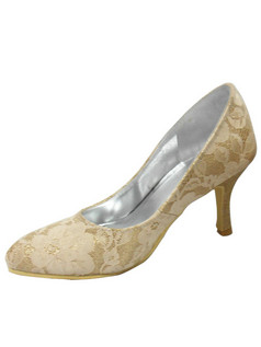 Lace Upper Stiletto Heel Closed Toes Pumps Wedding Shoes