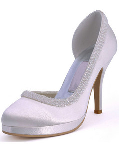 Satin Upper Stiletto Heel Closed Toes Pumps Beading Platform Wedding Shoes