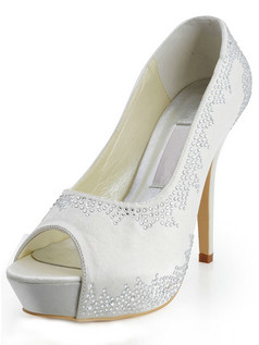 Satin Upper Stiletto Heel Peep Toes Rhinestone Wedding Shoes