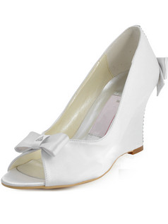 Satin Upper Wedge Heel Peep Toes Rhinestone Wedding Shoes With Bowknot