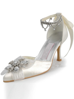 Beautiful Satin Upper Stiletto Heel Pointed Anklet Wedding Shoes With Rhinestones