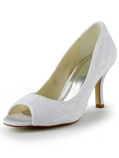 Lace Upper Stiletto Heel Peep Toes Wedding Shoes