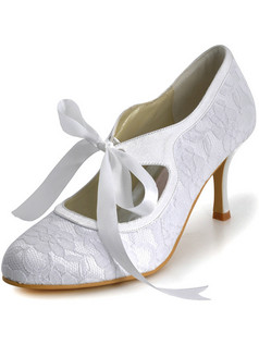 Lace Upper Stiletto Heel Closed Toes Wedding Shoes With Ribbon