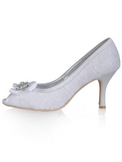 Lace Upper Stiletto Heel Peep Toes Wedding Shoes With Rhinestones