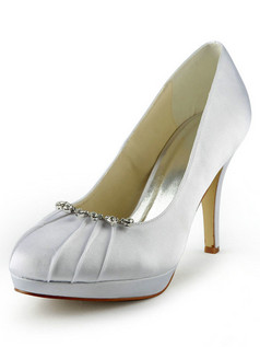 Satin Stiletto Heel Pumps Ruched Wedding Shoes With Rhinestones