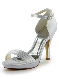 Satin Stiletto Heels Sandals Buckle Wedding Shoes