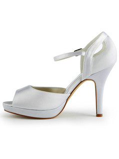 Satin Stiletto Heels Sandals Peep Toes Buckle Wedding Shoes