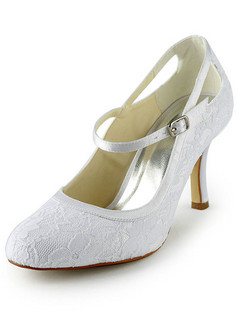 Satin Stiletto Heels Pumps Buckle Lace Wedding Shoes