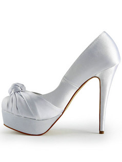 Gorgeous Satin Stiletto Heels Pumps Platform Ruched Wedding Shoes
