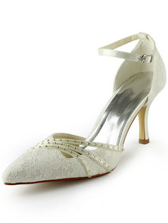 Satin Stiletto Heels Pumps Buckle Lace Wedding Shoes With Rhinestones