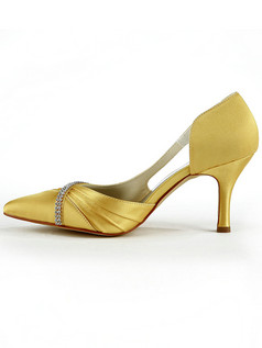 Satin Stiletto Heels Pumps Hollow Out Rhinestone Pointed Wedding Shoes