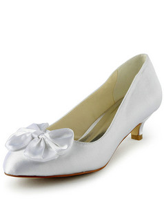 Satin Mid Heels Pumps Pointed Wedding Shoes With Bowknot