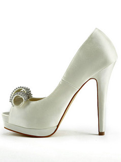 Satin Stiletto Heels Pumps Peep Toes Platform  Wedding Shoes With Rhinestones