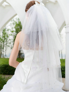 Four Layers Tulle Waltz Length Penci Edge Wedding Veil