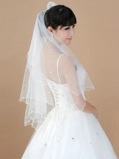 Two Layers Tulle Fingertip Length Scalloped Edge Wedding Veil With Beads