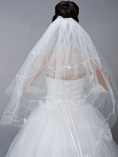 Three Layers Tulle Cut Edge Wedding Veil With Acrylic Line