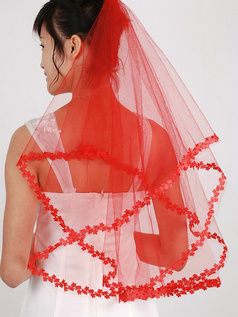 Single Layer Tulle Leaves Edge Wedding Veil