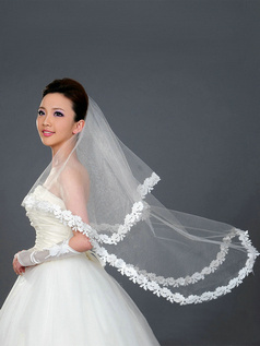 Single Layer Tulle Waltz Length Leaves and Flowers Edge Wedding Veil