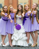 A-line Straps Short Chiffon Ruched Lilac Bridesmaid Dresses
