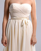 A-line Sweetheart Short Chiffon Ribbons Champagne Ruched Bridesmaid Dresses