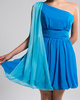 A-line One Shoulder Short Chiffon Blue Draped Bridesmaid Dresses