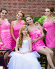 A-line Strapless Short Chiffon Pink Tiered Bridesmaid Dresses