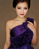 A-line One Shoulder Short Chiffon Grape Crystal Bridesmaid Dresses