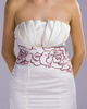 Sheath Scalloped-edge Short Satin White Embroider Bridesmaid Dresses