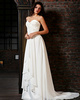 Astonishing A-Line Chiffon Sweetheart Court Train Appliques Evening Dresses