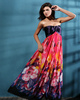 Western Saloon Girl Style Wedding Dresses A-line Column Chiffon Floor-length Print Prom/Evening Dresses