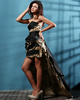Terrific Sheath/Column Taffeta Asymmetrical Train Print Prom Dresses