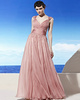 Appealing A-line V-neck Straps Floor-length Crystal Evening Dresses