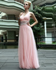 Beautiful A-line V-neck Straps Floor-length Beading Tulle Evening Dresses