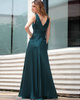 Elegant A-line Stretch Satin V-neck Sequin Prom/Evening Dresses