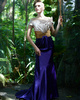 Fantasy Sheath/Column Stretch Satin Off-the-shoulder Sweep Prom/Evening Dresses