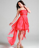 Graceful A-line Chiffon Asymmetrical Train Draped Cocktail/Homecoming Dresses