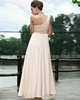 Happiness A-line Chiffon Sweep Draped Evening Dresses