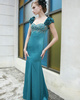 Happiness Mermaid/Trumpet Stretch Satin Sweetheart Flower Evening/Prom Dresses