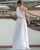Lovely A-line One shoulder Sweep/Brush Train Beading Appliques Evening Dresses