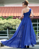 Precious A-line One shoulder Floor-length Sequin Beading Evening Dresses