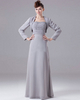 A-line Sweetheart Floor-length Chiffon Long Sleeve Beading Wedding Guest Dresses With Jacket