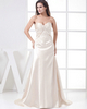A-line Strapless Sweep Stretch Satin Sequin Evening Dresses