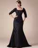 A-line Scoop Sweep Satin Half Sleeve Evening Dresses With Beading