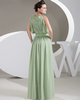 Column Bateau Floor-length Chiffon Sequin Draped Evening Dresses