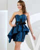 logoff Column Sweetheart Strapless Short Taffeta Sashes Prom Dresses